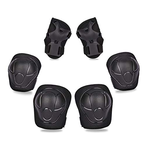 Pads Elbow Pads Wrist Guards for Inline & Roller Skating Skateboarding Cycling Blading Protective Gear Pack of 6 (Black) ()