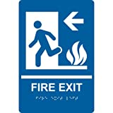 ComplianceSigns Acrylic ADA Exit Emergency / Fire Sign, 9 x 6 in. with English + Braille, Blue