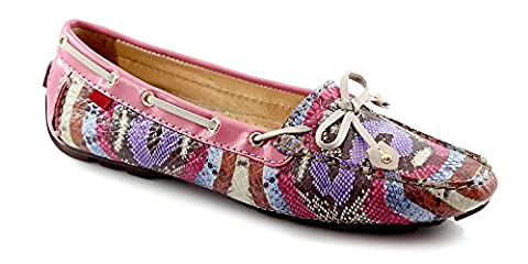 Marc Joseph NY Women's Fashion Shoes Cypress Hill Multi Camelia Snake Driver Loafer Size 7 (More Colors & Sizes - Genuine Snake Footwear