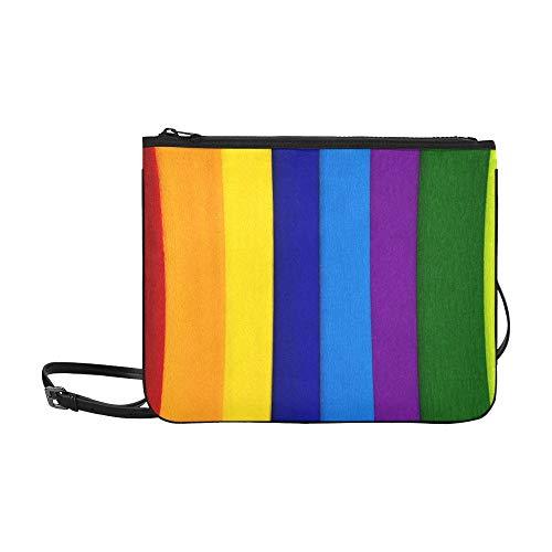 Price comparison product image Aurora Multi Green Purple Red Swirl Lines Pattern Custom High-grade Nylon Slim Clutch Bag Cross-body Bag Shoulder Bag