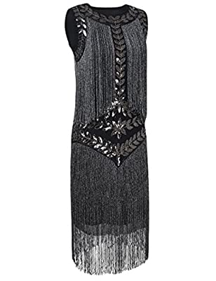 PrettyGuide Women's 1920s Vintage Beaded Fringed Inspired Black Flapper Dress