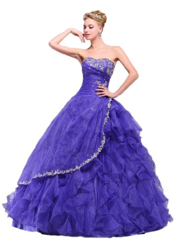 Efashion Women's Ball Gown Quinceanera Dress Color Violet Size 16