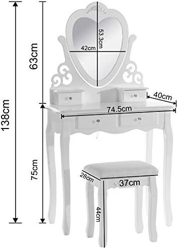 WOLTU Dressing Table,Wood Dressing Table with Chair and Mirror, Bedroom Furniture for Girls, 4 Drawers White Makeup Desk 68 x 40 x 138cm(L x W x H) MB6025cm