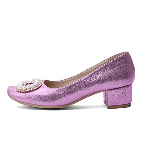 VogueZone009 Women's Pull-On PU Square Closed Toe Kitten-Heels Solid Pumps-Shoes Purple LawNGtDJL