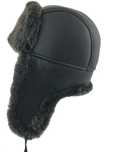 Sheepskin Cap - Zavelio Men's Shearling Sheepskin Aviator Russian Hat Large Black