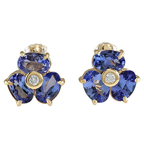 - 3.06 Carat Natural Blue Tanzanite and Diamond (F-G Color, VS1-VS2 Clarity) 14K Yellow Gold Flower Stud Earrings for Women Exclusively Handcrafted in USA