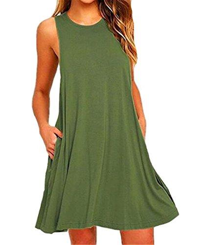 Estivo Aivosen Casual Abito Donna Vestiti Semplice Puro Colore Tasche Con Comoda Senza Popolare Maniche Vestito Sciolto Da Spiaggia I0FqrHI