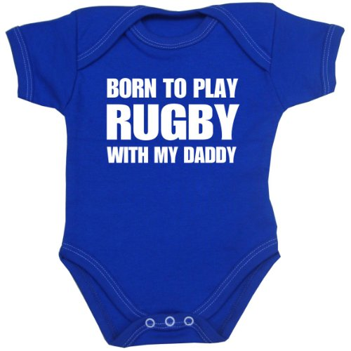 BabyPrem Born to Play Rugby with my Daddy Baby Clothes Bodysuit ROYAL BLUE ()