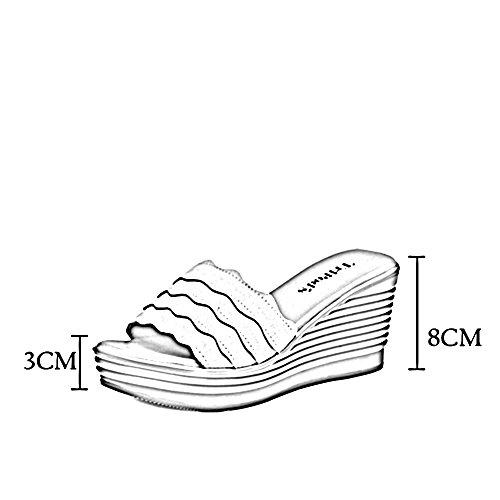 Toe Sommer Farbe Sandalen Bottom Thick CN39 Damenmode 8CM Slippers Open UK6 Schwarz Schuh Slope Frosted Roman ZHIRONG Größe EU39 qgOOw5rI