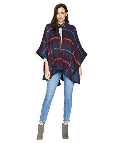Windowpane Collection - Collection XIIX Women's Windowpane Plaid Cape, bordeaux, One Size
