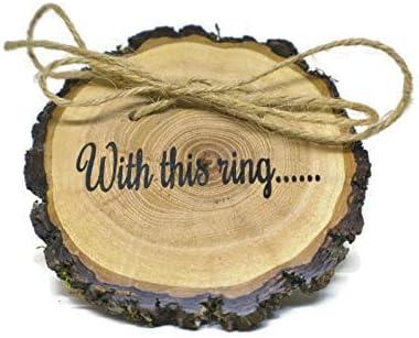 Rustic Shabby Chic Wedding Wood Slice Engagement Ring Holder Rings Bearer Pillow