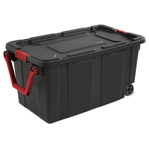 STERILITE, 40 Gal./151 L Wheeled Industrial Tote, Case of 2 (Plastic Storage Containers With Wheels And Handle)