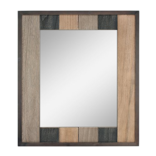 Stonebriar Rectangle Wood Plank Hanging Wall Mirror with Attached Mounting Brackets, Rustic -