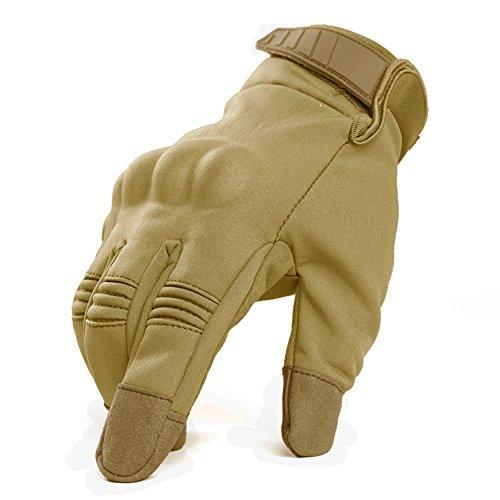 Stretch Windproof Gloves - TACVASEN Men's Military Windproof Waterproof Wear-Resistant Full Finger Gloves Brown