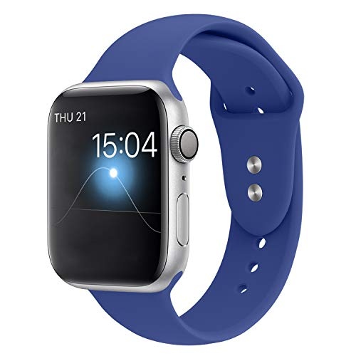 YOUKEX Sport Band Compatible with Apple Watch 42mm/44mm, Soft Silicone Strap Wristbands Replacement for iWatch Series 4/3/2/1 Women Men, (Royal Blue M/L)