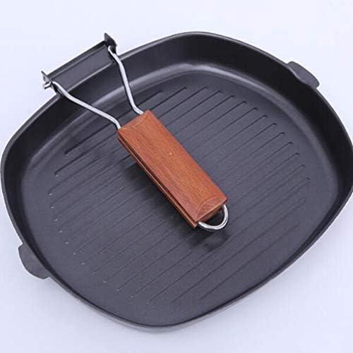 UPKOCH Poêle Antiadhésive en Fonte Plaque de Poêle à Steak en Fonte avec Poignée Pliante en Bois pour Barbecue de Cuisine à Domicile (24 Cm)