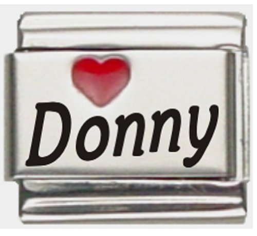 Donny Red Heart Laser Name Italian Charm Link