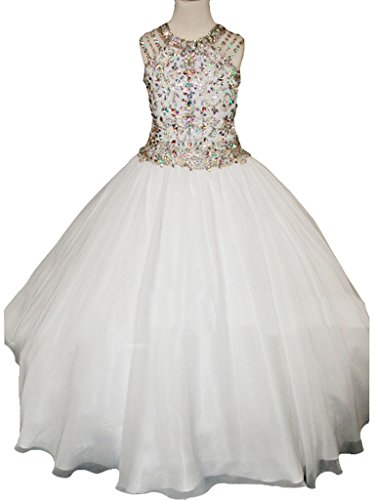 MCandy Flower Girls Wedding Party Bridesmaid Holy Communion Pageant Dress 14 US White by MCandy (Image #1)