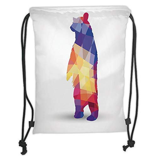 Custom Printed Drawstring Sack Backpacks Bags,Animal,Silhouette of Wild Bear with Geometric Fractal Shapes Colorful Origami Inspired,Multicolor Soft Satin,5 Liter Capacity,Adjustable String Closure,Th