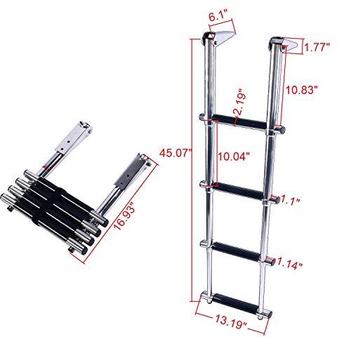 - Amarine Made 4 Step Wide Steps Stainless Steel Telescoping Boat Ladder Swim Step