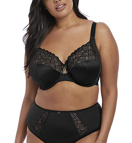 Elomi Women's Plus-Size Lydia Bandless Plunge Bra with Racer Back Conversion Bra, Black, 42JJ
