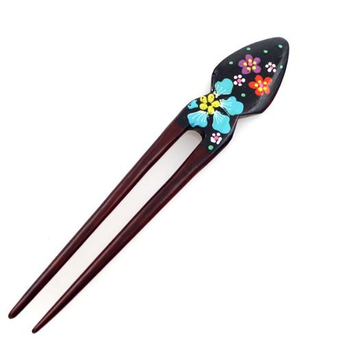 FINGER LOVE Handmade Teakwood 2-Prong Color Lacquered Hair Stick (A)