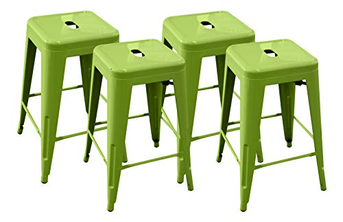 Ravenna Home Decorah Stackable Metal Counter Stool, 24 W, Light Green 4 Pack