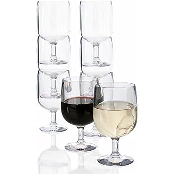 Stackable Premium Quality Plastic 8oz Wine Glass - Set of 8