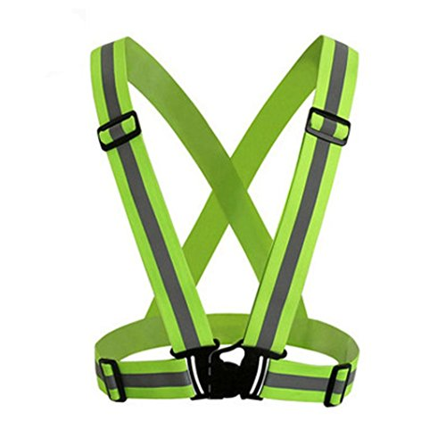 Price comparison product image Dreamyth Visibility Neon Vest Reflective Belt Safety Vest Fit for Running Cycling Sports Outdoor (Green)