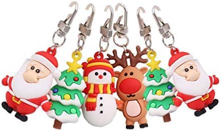 6ピースクリスマスキーホルダーサンタ雪だるまトナカイキーリングペンダントクリスマスホリデーパーティー用品好意ギフトギフトバッグフ