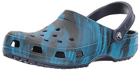 crocs Unisex Classic Printed Clog Mule, Blue Jean, Blue Jean, 11 US Men / 13 US Women - Blue Croc