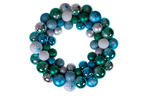 Clever Creations Christmas Ornament Wreath Blue, Green, White & Silver | Festive Holiday Décor | Modern Theme | Lightweight Shatter Resistant | Indoor/Outdoor Various Use | 13.5