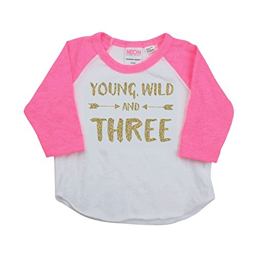 Girl Third Birthday Shirt, Pink and Gold Birthday Girl Raglan (4T)