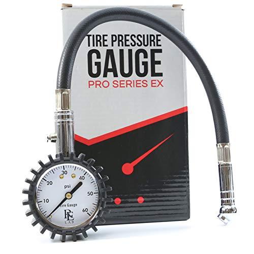 RE LAB INC. Tire Air Pressure Gauge - 60 psi Range with 1 Foot Hose
