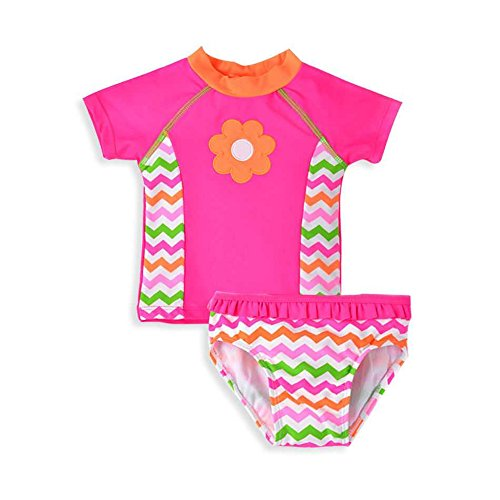 Baby Girl Swimsuit Toddler Kid Short Sleeve Two Pieces Bathing Suit Rash Guard Set (Pink, 3T) -