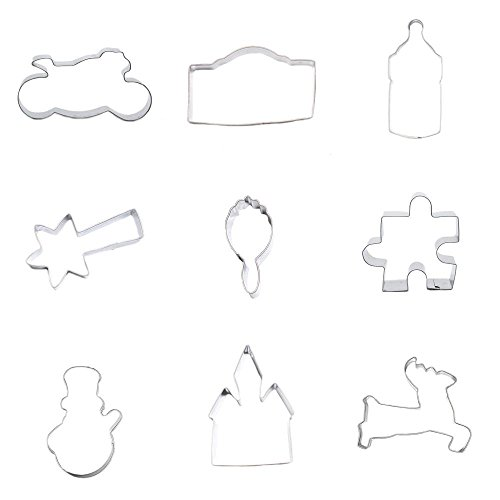 9 Pieces Cookie Cutter Biscuit Runing Deer House Snowman Jigsaw Puzzle Mirror Meteor Babys Bottle Camera Motorcycle Autobike