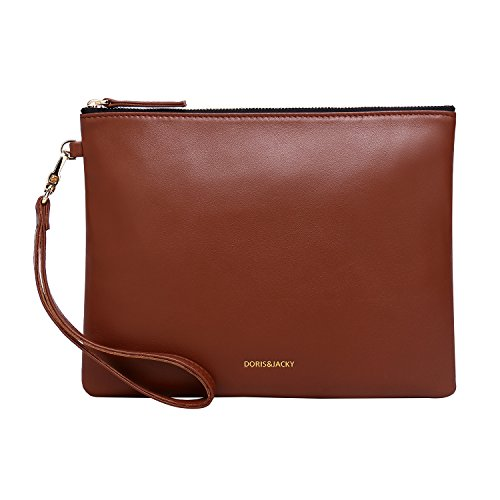 Soft Lambskin Leather Wristlet Clutch Bag For Women Designer Large Wallets With Strap (Brown)