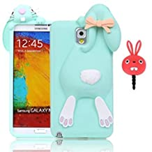Vandot Samsung Galaxy Note 3 N9000 N9005 Phone Case,Luxury Soft Rubber Silicone Back Cover 3D Lovely Funny Bow Ears Buck Teeth Bunny Cartoon Case Skin Shell+Universal Red Anti Dust Plug Earphone Jack-Green
