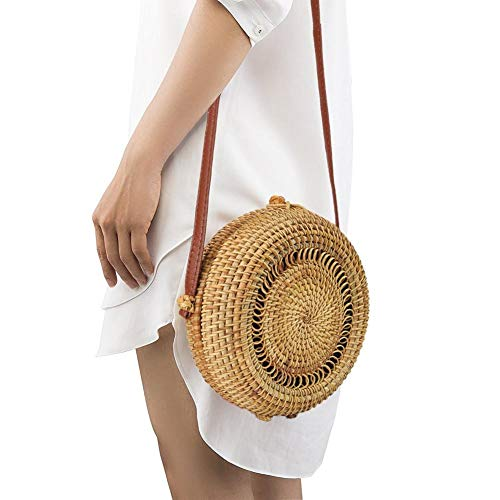 Pride&Pound Women's Straw Messenger Bag Hand-woven Bag Round Boho Style Rattan Bag Beach Wallet And (Hand Woven Handbag)