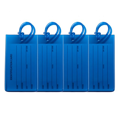 4 Packs Colorful Flexible Travel Luggage Tags for Baggage Bags Suitcases Backpacks - Blue