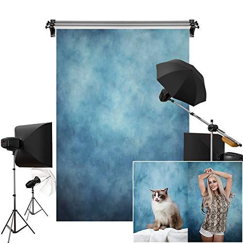 Kate 5x7ft/1.5m(W) x2.2m(H) Blue Background Portrait Photography Abstract Blue Texture Microfiber Backdrop Photography Studio Props