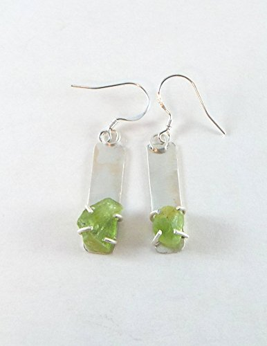 *DISCONTINUED* Raw Peridot Bar 4 Prong Sterling Silver - Peridot Raw