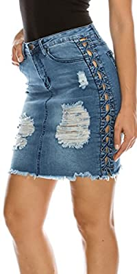 TwiinSisters Women's Destoryed Hem Frayed Side Lace-Up Denim Skirts with Back Pockets Size Small to 3X