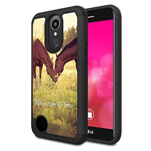 LG K20 V/K20 Plus/K10 2017/Harmony/V5 Case,Rossy Heavy Duty Hybrid TPU Plastic Dual Layer Armor Defender Protection Case Cover for LG K10 2017,Horse Theme