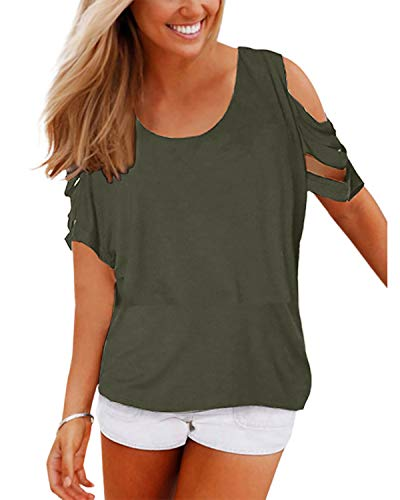 YOINS Summer Top for Women Cold Shoulder Short Sleeve Blouse Loose Casual Cut Out T-Shirt Green ()