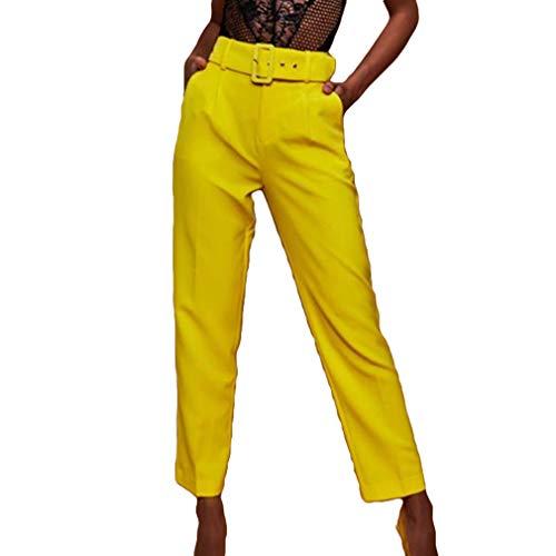 Vita Colore Donna Con Autunno Pantaloni Pantaloni Cintura Straight Con Pantaloni Lavoro Donna Alta Tasche Giallo Puro Formale Classici Pantaloni Nine Casual wqEqtOF6X