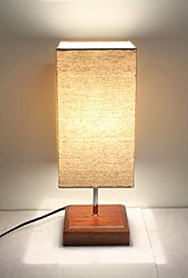 "17""H Mini Sandalwood Living Room Indoor Table Lamp Natural Solid Wood Base"