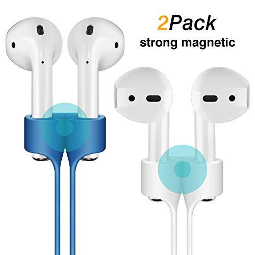 Cuauco [2 Pack Correa Anti-Perdida de Adsorción Magnética Compatible con Apple Airpods Cordón de Silicona Protectora...