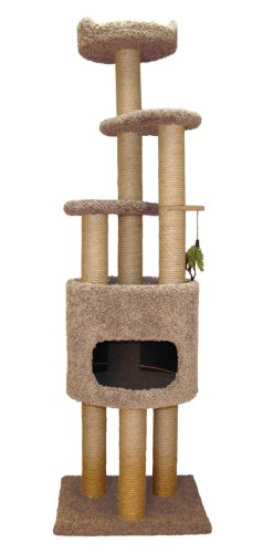 Classy Kitty 73'' 5 Story Cat Condo Cat Tree With Sky Lookout and Booster Base Natural beige 21x22x73 by North American Pet