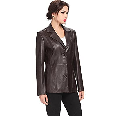 BGSD Women's Crystal Lambskin Leather Blazer (Regular and Plus Size and Short) at Women's Coats Shop